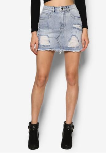 刷破丹寧短裙、 服飾、 裙子Supre刷破丹寧短裙最新折價