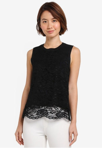 ZALORA black Lace Top 40E7CAABD8AEFFGS_1