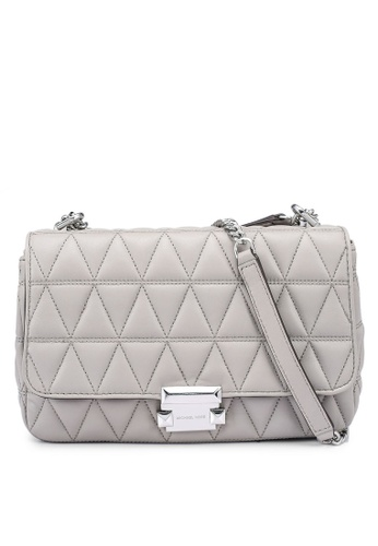 MICHAEL KORS grey Sloan Large Quilted Leather Shoulder Bag 560C2ACAC671FDGS_1