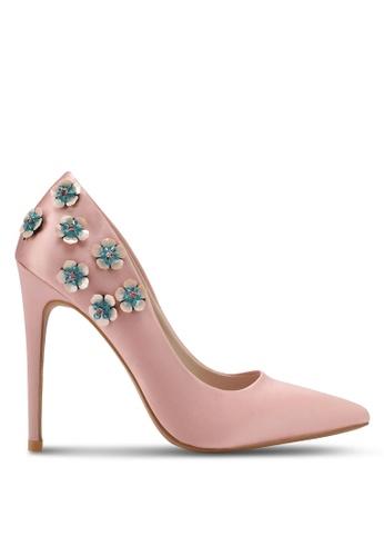 Velvet pink Floral Applique Satin Pump Heel 75F9DSHBA070FAGS_1