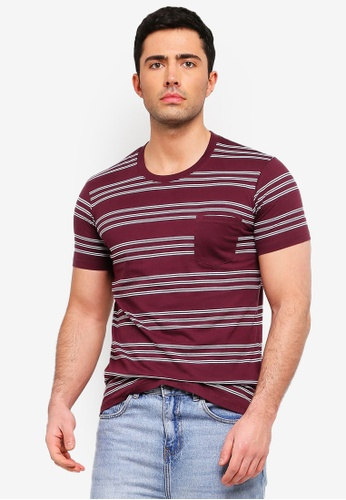 Cotton On 白色 短袖條紋口袋T恤 A331CAA23D777CGS_1