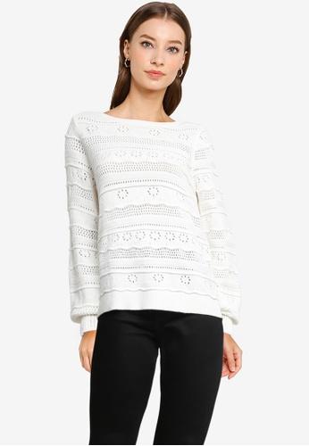 Vero Moda white Threed Long Sleeves Boat Neck Sweater 43788AAAE5E784GS_1