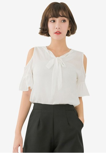 Tokichoi white Open Shoulder Tie Neck Blouse 5567DAACEAC37DGS_1