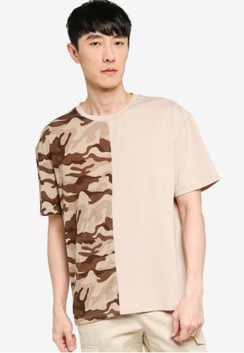 ZALORA BASICS multi and beige Camo Block Oversized T-Shirt A6337AA7763ACAGS_1