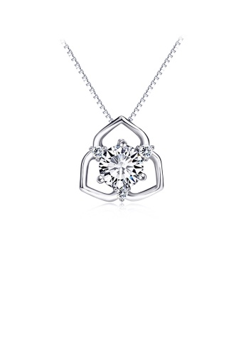 Glamorousky white 925 Sterling Silver Fashion and Elegant Flower Pendant with Cubic Zirconia and Necklace ECAD6ACDAC3351GS_1