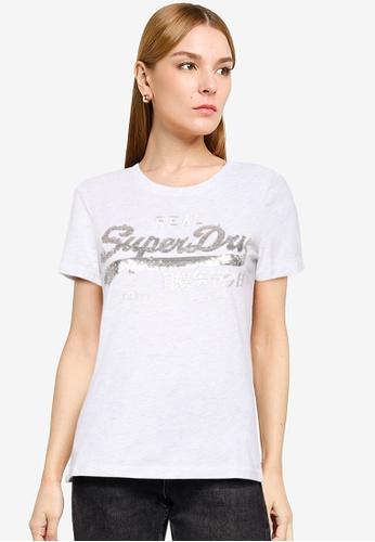 SUPERDRY white Vintage Logo Sequin T-Shirt CA9E2AAB069193GS_1