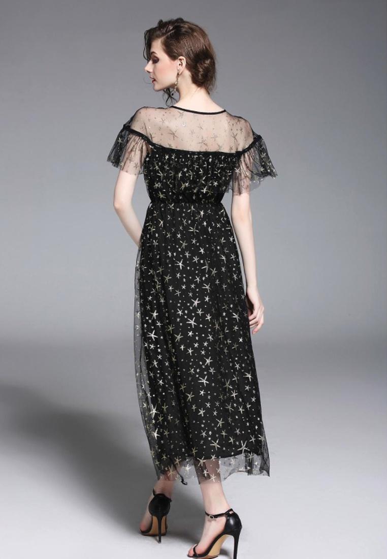 New Black A060809 2018 Patterned Star Black Skirt Sunnydaysweety A line d4nq1zw