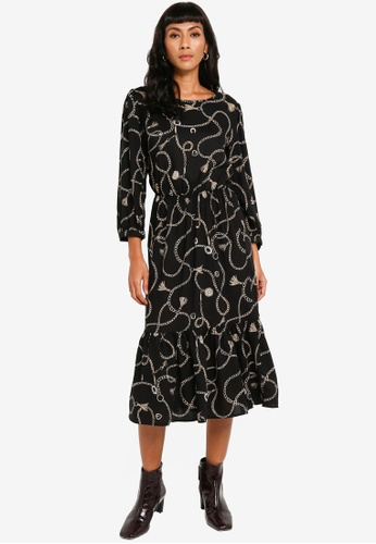 Dorothy Perkins black Long Sleeve Smock Dress F716EAA384CEB4GS_1