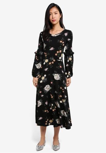 Dorothy Perkins black Black Floral Print Midi Dress DO816AA0S7AIMY_1
