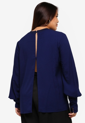 93f265d33a7 Buy ELVI Plus Size Navy Flared Sleeve Top Online on ZALORA Singapore