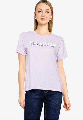 Hollister purple Short Sleeves Tee B0DDCAA54DBC85GS_1