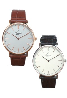 Ibarra Leather Dress Watches Promo Bundle – 40mm