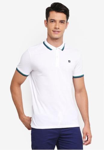 Penshoppe white Contract Tip Polo Shirt F190CAAFD732E4GS_1
