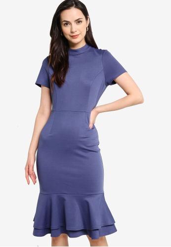ZALORA WORK blue Short Sleeves Fluted Hem Dress 37E76AA8D44FE7GS_1