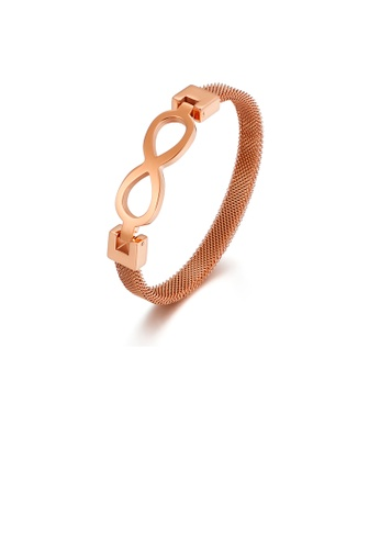 Glamorousky silver Fashion Creative Plated Rose Gold Infinity Symbol 316L Stainless Steel Bangle FD753AC51374EFGS_1