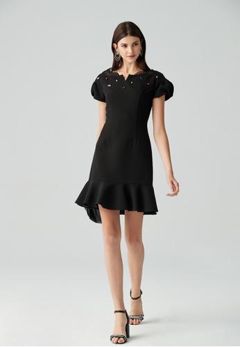 iROO black Princess Cut Dress 7B20CAA941C563GS_1