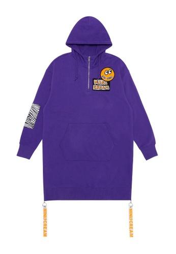 Mini cream purple Quarter zip hoodie dress 7D3E1AA355913AGS_1