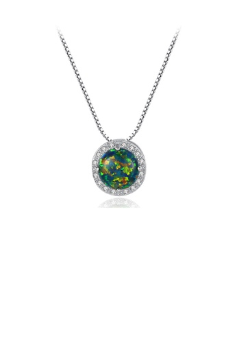 Glamorousky green 925 Sterling Silver Fashion and Elegant Geometric Round Imitation Green Opal Pendant with Cubic Zirconia and Necklace 84AC7ACD3F1CDAGS_1