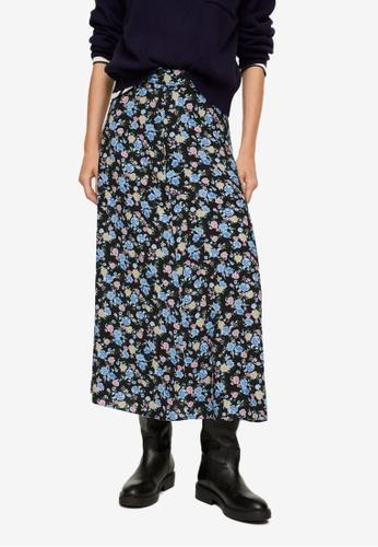 Mango black Floral Print Skirt 665B7AAFD8BE98GS_1