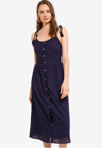 Tula Cruz navy Tasseled Cotton Eyelet Midi Dress 487AEAA2922CA1GS_1