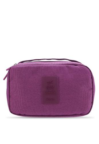Bagstationz purple Lightweight Water Resistant Travel Toiletries Pouch BA607AC26QNXMY_1