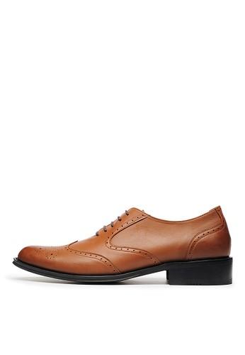 MIT。W型雕花全真皮esprit台灣牛津鞋-04612-咖色, 鞋, 皮鞋