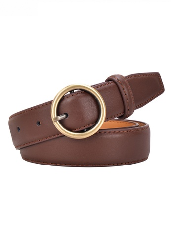 Twenty Eight Shoes brown Metal Round Buckle Leather Belt JW CY-100 E70EFAC755E6C1GS_1