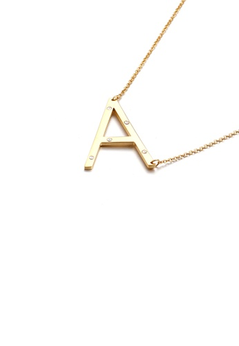 Glamorousky white Simple Personality Plated Gold English Alphabet A 316L Stainless Steel Pendant with Cubic Zirconia and Necklace 70993ACB7644CAGS_1