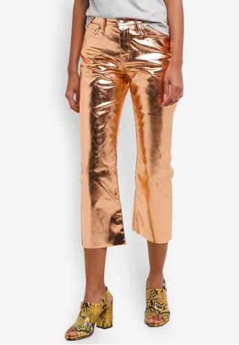 TOPSHOP gold Moto Copper Metallic Cropped Kick Flare Jeans TO412AA0RJMVMY_1