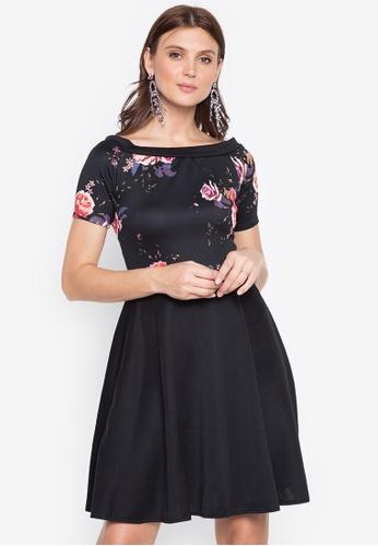 Ashley Collection black Floral Off Shoulder Flare Dress FF0E1AA1E5D6B4GS_1