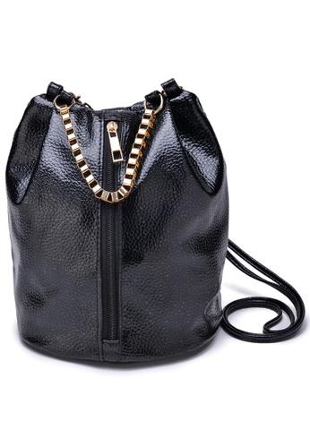 Vince black Korean Style Vegan Leather Crossbody Bucket Bag ( Black ) VI456AC16XDBMY_1