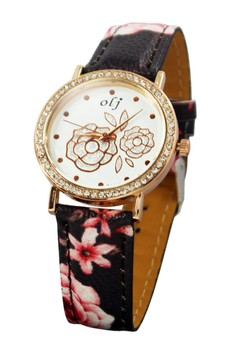 OLJ Rose Dark Leather Strap Watch B1637