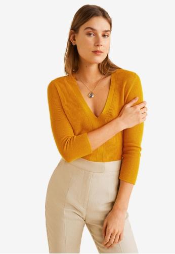 Mango yellow Fine-Knit Sweater CA6B7AAB9D989CGS_1