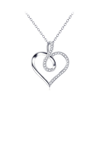 Glamorousky white 925 Sterling Silver Simple Romantic Heart Pendant with Cubic Zirconia and Necklace D2D09ACBA99C70GS_1