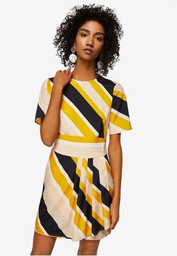 Mango orange Cut-Out Striped Dress 8A142AAAC5DD75GS_1
