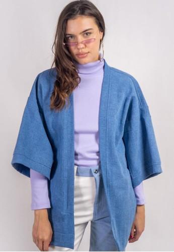 Ocwa Studio blue and purple OCWA MARINA PURPLE PLAID KIMONO 95E98AA278D9ADGS_1