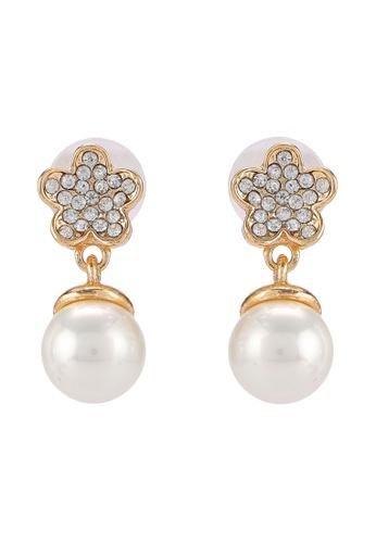 Red's Revenge gold Five Petal Gem Pearl Premium Dangle Earrings RE144AC0R9QDMY_1