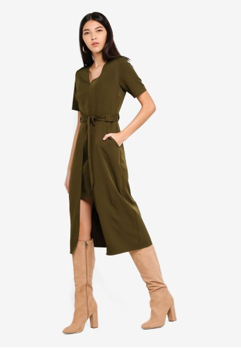 ZALORA green Split Detail Midi Dress 778CDAA35D9D29GS_1