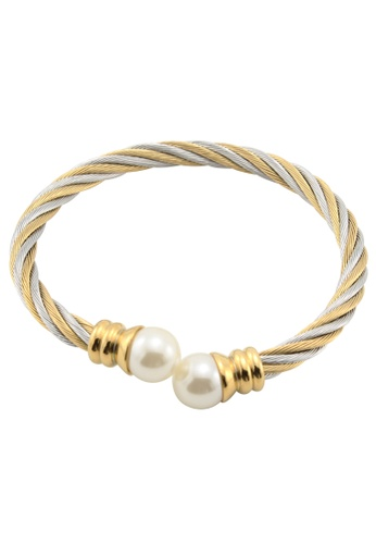 All Things New silver and gold Polished Faux-Pearl Ball  Twisted Cable Wire Stainless Steel Bangle Bracelet AL775AC62BYBPH_1
