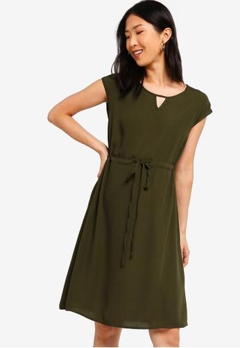 ZALORA BASICS green Basic Drawstring Waist Midi Dress 19D31AA0028381GS_1