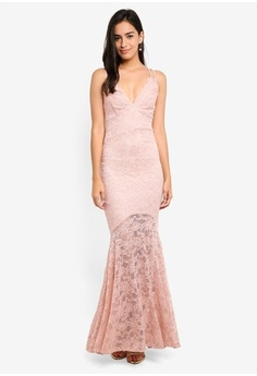 74007d5eff Psst... we have already received your request. Goddiva. Deep V Neck Lace Maxi  Dress ...