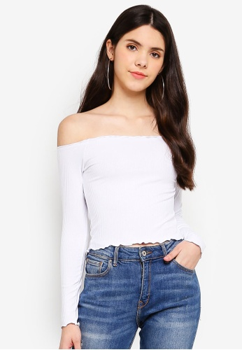 Factorie white Rib Off Shoulder Long Sleeve Top 0E1F4AA1F74A28GS_1