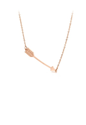 Glamorousky silver Simple and Romantic Plated Rose Gold Cupid's Arrow 316L Stainless Steel Necklace DD23CACFC572DAGS_1