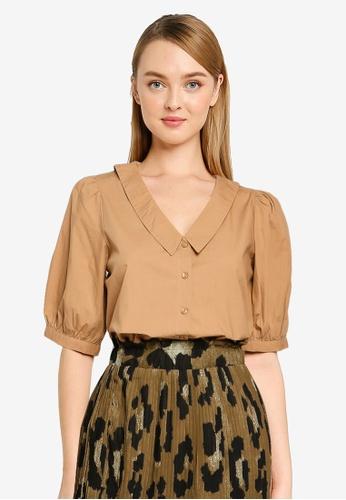 Vero Moda beige Olene 2/4 V-Neck Shirt 75292AA4381E53GS_1