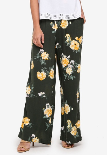 Dorothy Perkins green Khaki Floral Palazzo A127AAAF9E2389GS_1