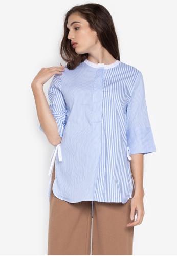 42cb6d20824 Shop Kashieca Striped Elbow Sleeve Blouse Online on ZALORA Philippines