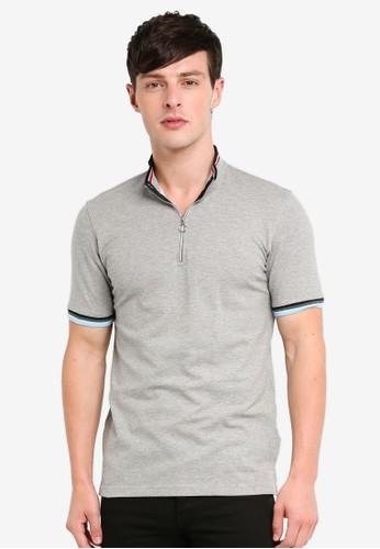 UniqTee grey Stripe Cuff Polo Shirt D1214AAE78AB8BGS_1