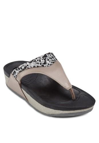仿鑽夾腳厚底涼鞋, esprit 內衣女鞋, 涼鞋