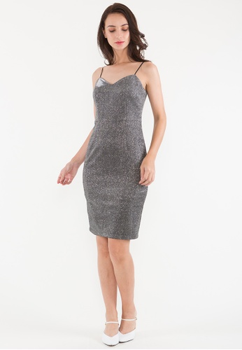 BEBEBEIGE silver BebeBeige V-Neck Slim Fit Evening/Cocktail Short/Mini Dinner Dress DDC99AA4274E5CGS_1