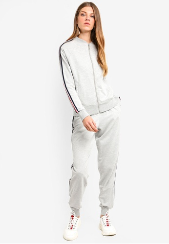 Brave Soul grey Zip Front Tracksuit Jacket With Jogging Bottoms C0C9CAAEC709A8GS_1